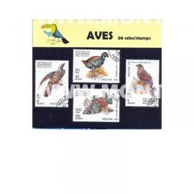 Aves Pack 50 selos usados -...