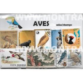 Aves Pack 100 selos usados...